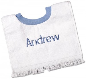 Blue personalized baby bibs for boys.