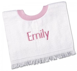 Pink personalized baby bibs for girls.