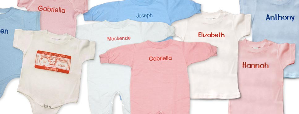 Personalized baby t-shirts, onesies, rompers. For Christmas, birthdays and baby showers.