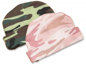 Boys and girls green and pink camo-hats. camouflage print for your little duck hunter