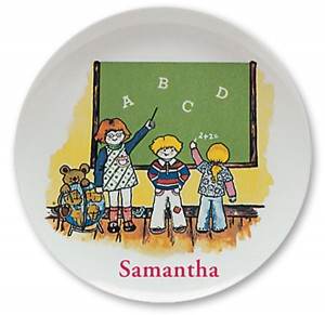 "School Kids, personalized Name Plates. 10"" melamine dinner plate."