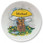 "Happy Bear, personalized Name Plates. 10"" melamine dinner plate."