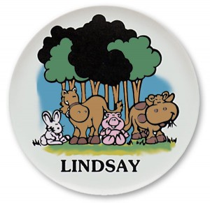 "Farm Animals, Colorful, Personalized Name Plates. 10"" melamine dinner plate for kids"