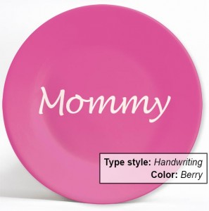 NameYourPlate- dinner plates personalized with name and choice of type style and colors. A terrific gift idea for Christmas, holidays and birthdays.