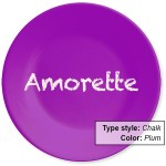NameYourPlate-color: Plum. dinner plates personalized with name and choice of type style and colors.