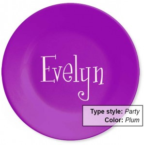 NameYourPlate-color: Plum. type style: Party