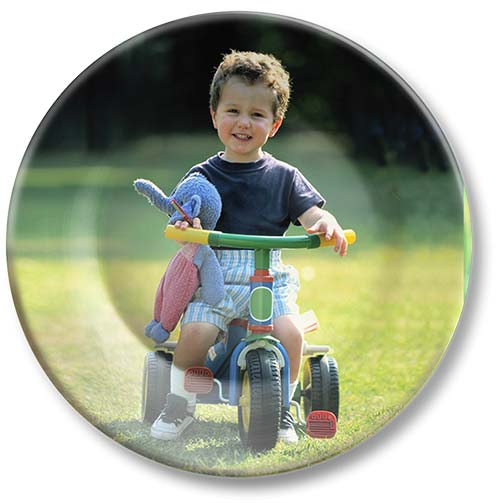 Kid on tricycle photo on melamine picture photo plate