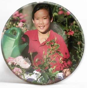 Woman gardening on custom picture plate.