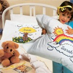 Personalized pillow cases with child's name in colorful image on long-lasting polyester/cotton blend for easy care. FREE shipping.