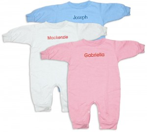 Personalized, monogrammed rompers for baby boys and girls. Unique comfortable baby clothing for baby presents and gifts.