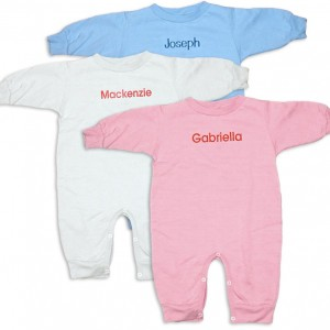 """Personalized, monogrammed """"Special Deliver"""" rompers for baby boys and girls. Unique comfortable baby clothing for baby presents and gifts."""