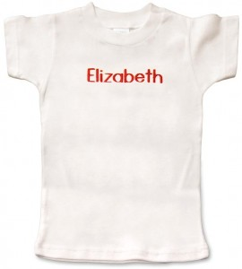 White, personalized, monogrammed short-sleeve t-shirt for baby boys and girls. 100% cotton. Excellent present for baby showers and birthdays.