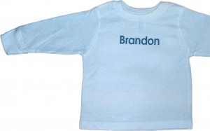 Personalized, monogrammed long-sleeve t-shirt for baby boys. Excellent gifts and presents.