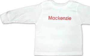 Personalized, monogrammed long-sleeve t-shirt for baby boys & girls