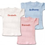 Personalized, monogrammed short-sleeve t-shirts for baby.