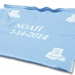 Boy's blue personalized baby blanket christmas present