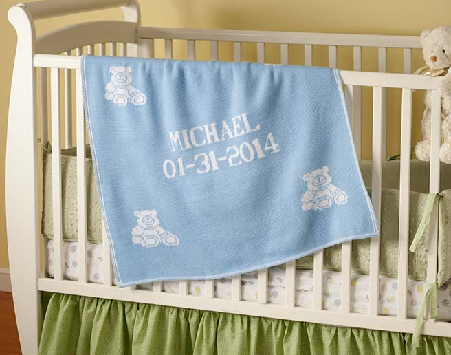 Boys personalized baby blanketg personalized baby blankets for boys and girls gift on crib in nursery negle Gallery