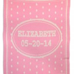 Girls personalized blankets for kids. Custom name and birthdate.