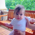 baby with personalized onesie
