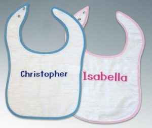 Blue trim bibs for boys & Pink trim bibs for girls