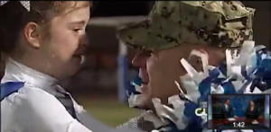 father and daughter reunited after long military deployment