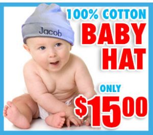 personalized baby hats- cheap, unique gift for birthday, holidays and baby showers