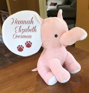 Pink stuffed elephant