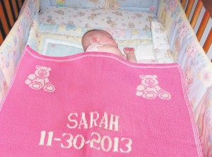 Girls pink personalized baby blanket gifts. Free shipping