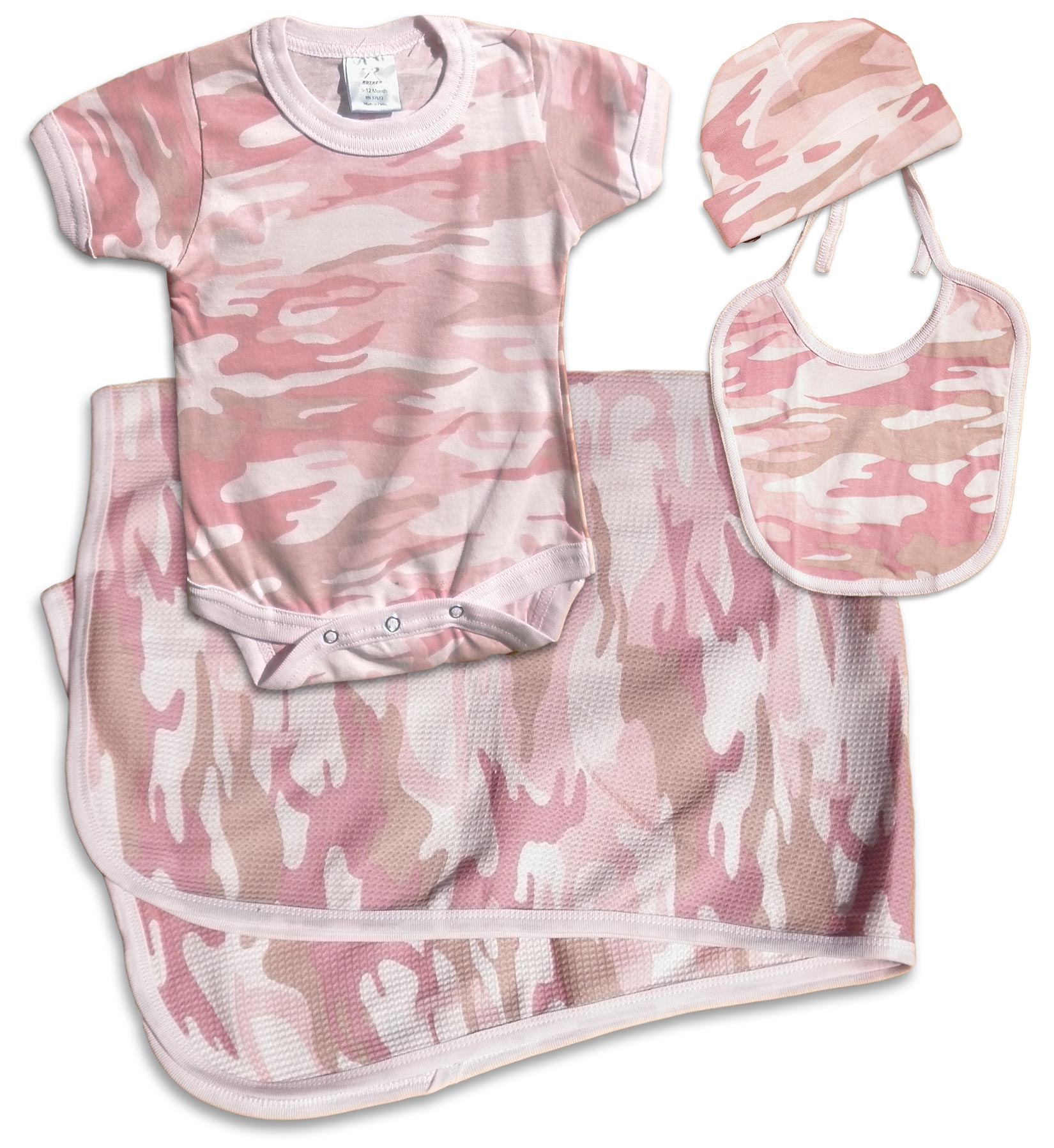 Girls pink camouflage, Camo Baby Gift Pack: Cap, bodysuit (onesie), receiving blanket, bib. For your Duck Dynasty baby.