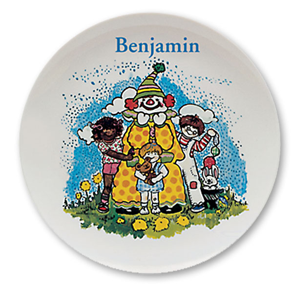 "Clown and Friends, personalized Name Plates. 10"" melamine dinner plate."