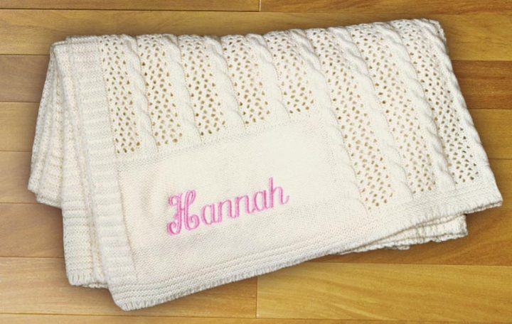 Personalized cashmere blanket for girls. Perfect gift for baby girls