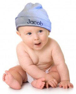 Personalized baby hats. 100% cotton. One size fits all newborns. FREE custom monogramming and shipping.