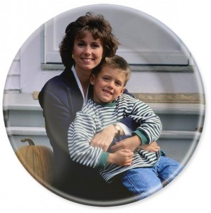 Mom and son on custom photo picture dinner plate.