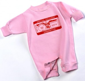"Personalized, ""Special Deliver"" onesies for baby boys and girls"