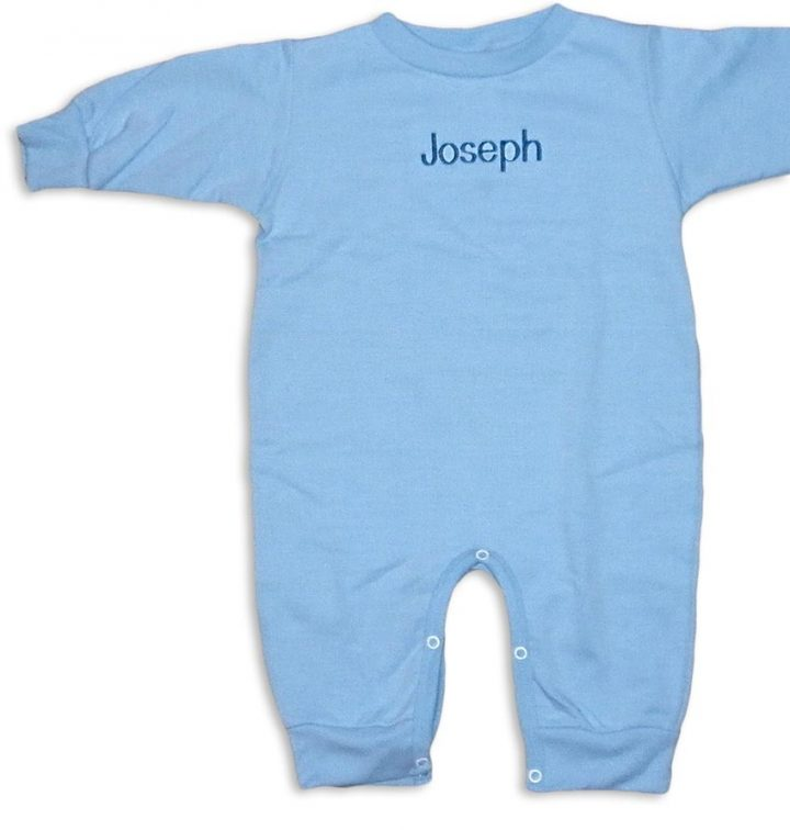 "Personalized, monogrammed ""Special Deliver"" rompers. Blue romper with blue monogram for baby boys."