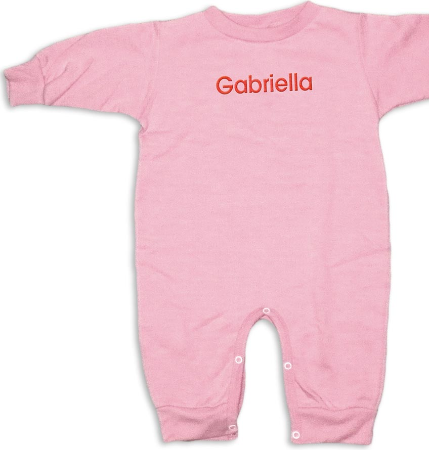 """Personalized, monogrammed """"Special Deliver"""" rompers for baby girls. Pink romper with red monogram."""