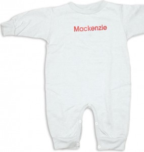"Personalized, monogrammed ""Special Deliver"" rompers. White romper with red monogram."
