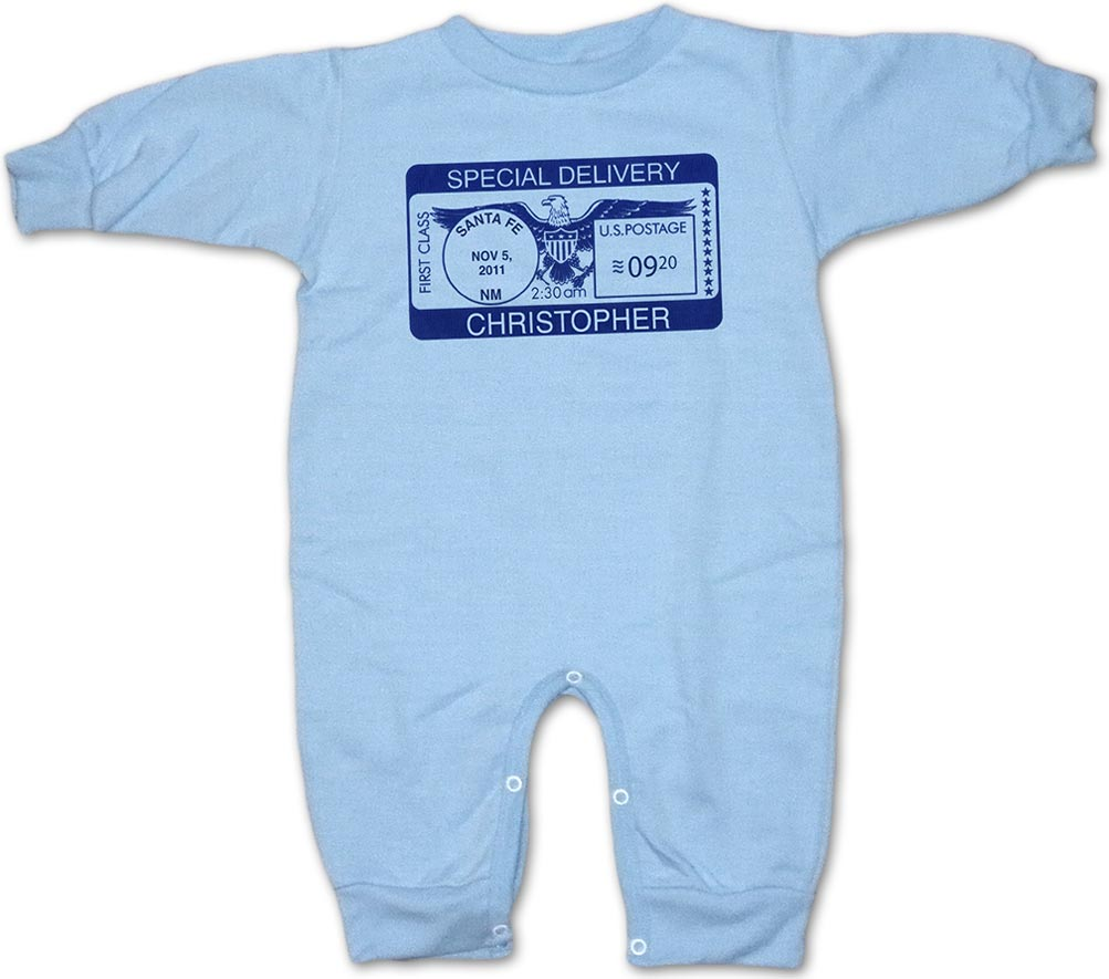 """Personalized, """"Special Deliver"""" rompers for baby boys and girls"""