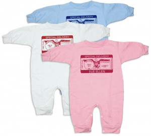 "Personalized, ""Special Deliver"" rompers for baby boys and girls"