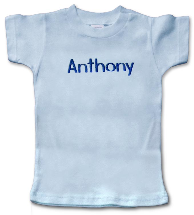 Blue, personalized, monogrammed short-sleeve t-shirt for baby boy.
