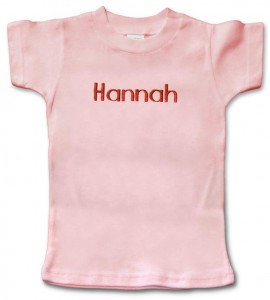 Pink, personalized, monogrammed short-sleeve t-shirt for baby girl.
