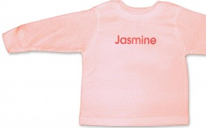 Personalized, monogrammed long-sleeve t-shirt for baby girls.
