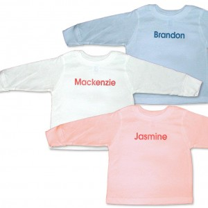 Personalized, monogrammed long-sleeve t-shirts for baby boys and girls. Available in blue, white or pink. Excellent gifts and presents.
