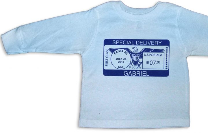 "Blue personalized, long-sleeve ""Special Delivery"" t-shirts for baby boys."