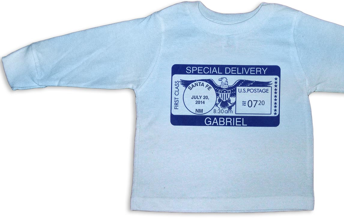 """Blue personalized, long-sleeve """"Special Delivery"""" t-shirts for baby boys."""