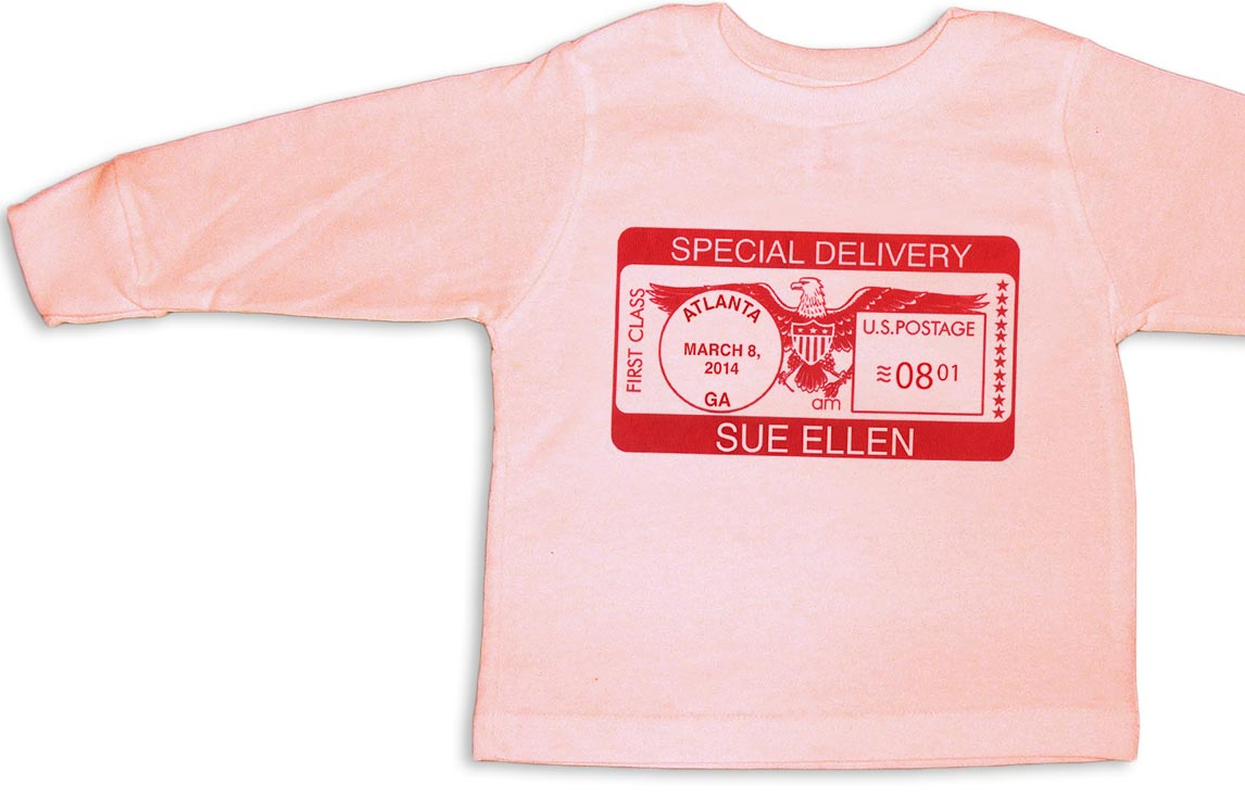 """Pink personalized, long-sleeve """"Special Delivery"""" t-shirts for baby girls."""