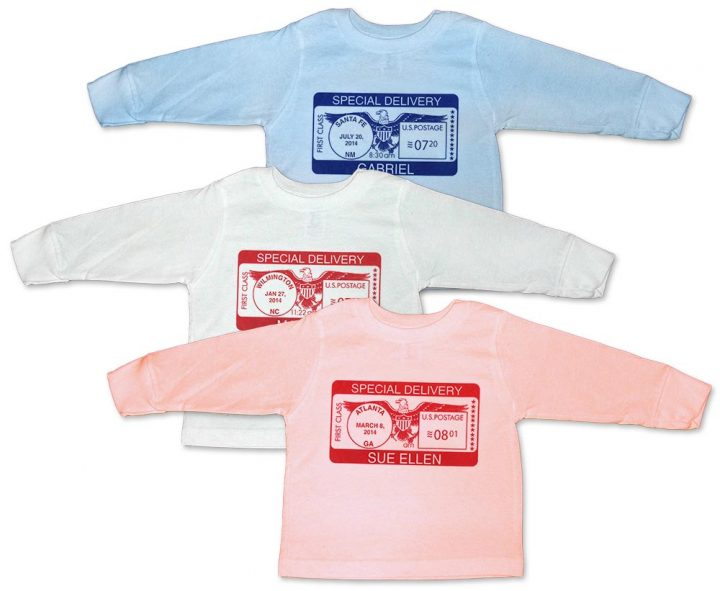"Personalized long sleeve ""Special Delivery"" t-shirts for baby boys and girls. 100% cotton."