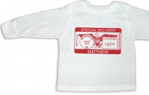 "White personalized, long-sleeve ""Special Delivery"" t-shirts for baby boys and girls."