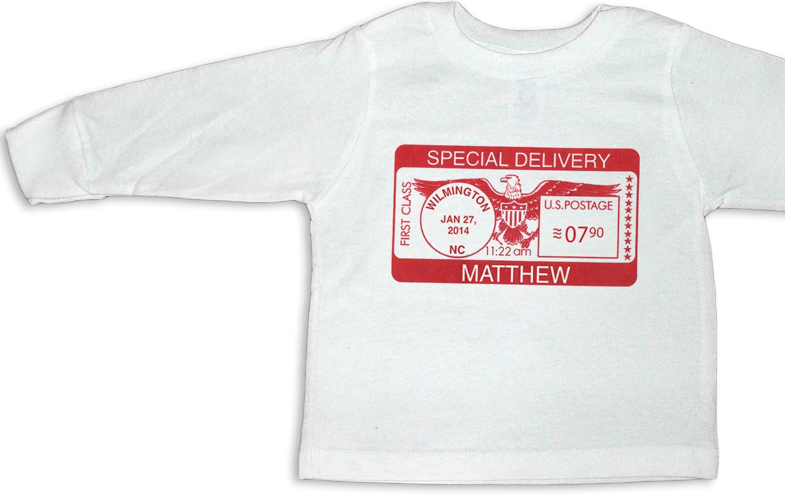 """White personalized, long-sleeve """"Special Delivery"""" t-shirts for baby boys and girls."""