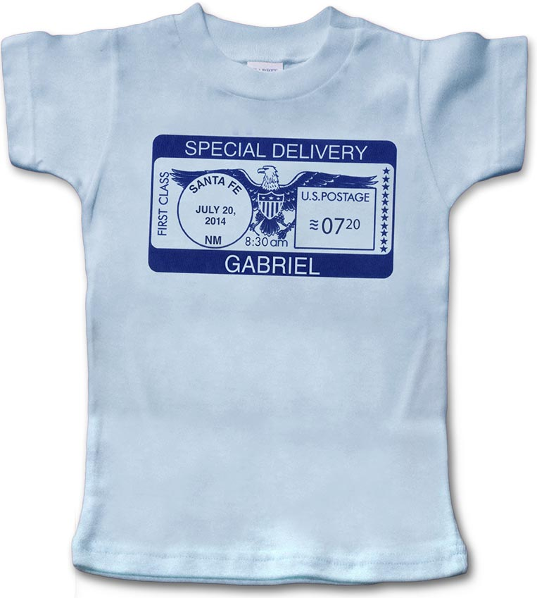 """Blue, personalized short-sleeve """"Special Delivery"""" t-shirt for baby boy. 100% cotton."""